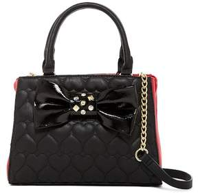 Betsey Johnson Heart Quilted Bow Bowler Satchel