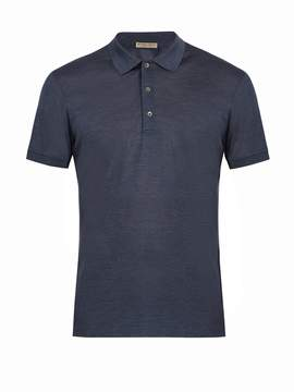 Bottega Veneta Contrast-collar silk-piqué polo shirt