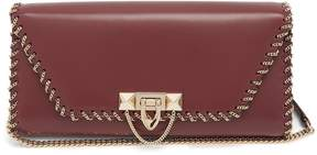 Valentino Demilune chain-embellished leather clutch
