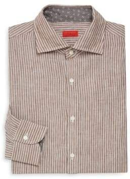 Isaia Slim-Fit Stripe Cotton Dress Shirt