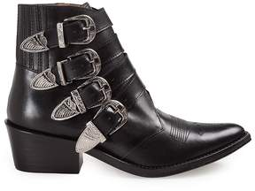 Toga Buckled Leather Western Boots