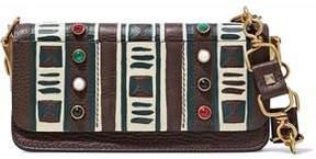 Valentino Embellished Printed Pebbled-Leather Shoulder Bag
