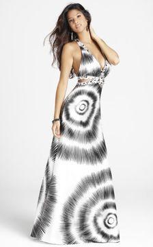 Blush Lingerie Plunging Printed Long Dress 9252