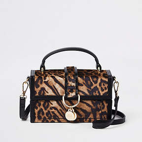 River Island Brown leopard print boxy cross body bag