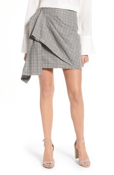J.o.a. Women's Draped Plaid Wrap Skirt