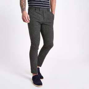 River Island Mens Navy textured skinny fit suit pants