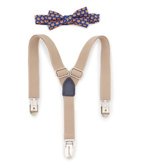 Starting Out Baby Boys Fox-Print Bow Tie & Suspenders Set