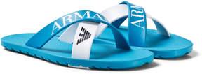 Armani Junior Blue and White Logo Strap Sandals