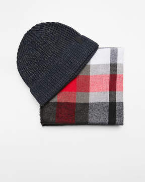 Express Red And Gray Plaid Scarf And Beanie Set