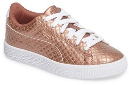 Puma Girl's Basket Metalic Sneaker