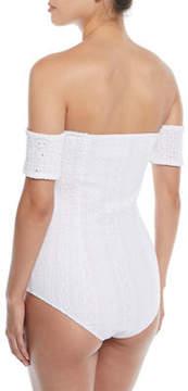 J.o.a. Off-The-Shoulder Eyelet Bodysuit