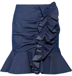 Caroline Constas Ruffled Stretch-cotton Mini Skirt - Dark denim