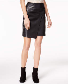 Bar III Faux-Leather Crossover Skirt, Created for Macy's