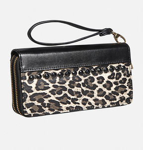 Avenue Leopard Double Zip Wristlet