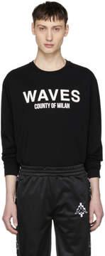 Marcelo Burlon County of Milan Black Waves Surf T-Shirt