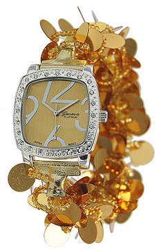 Geneva Platinum Goldtone Payette-Sequin Bracelet Watch
