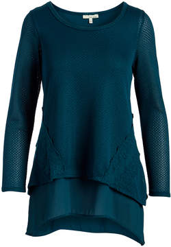Lush Meadow Mesh-Contrast Sidetail Tunic - Juniors
