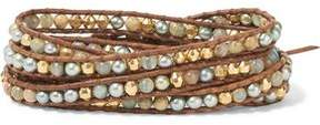 Chan Luu Sterling Silver Beaded Leather Bracelet