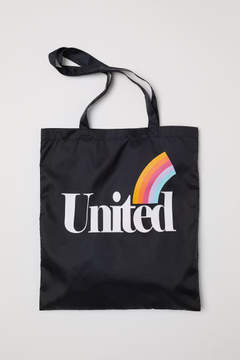 H&M Tote Bag with Printed Design - Black