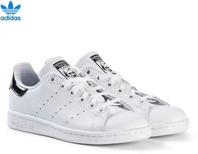 adidas White and Black Shiny Junior Stan Smith Trainers