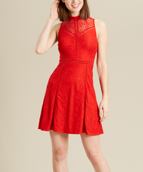 Bebe Red Lace Cutout-Back Fit & Flare Dress