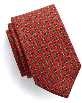 Drakes Drake's Floral Medallion Tie in Red Silk