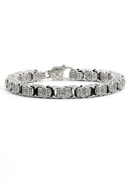 Konstantino Men's 'Minos' Etched Medium Link Bracelet