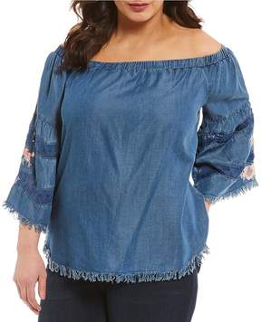 Chelsea & Theodore Plus Off-The-Shoulder Embroidered Frayed Edge Blouse