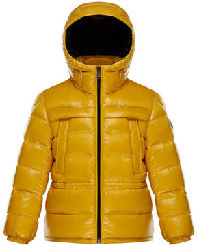 Moncler Gibran 2 Hooded Quilted Coat, Yellow, Size 4-6