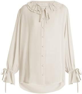 Etro Ruffled-collar silk crepe de Chine blouse