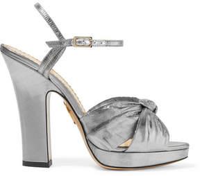 Charlotte Olympia Farrah Knotted Lamé Platform Sandals - Silver