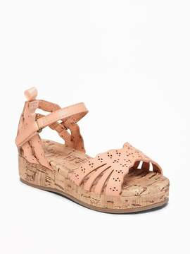 Old Navy Perforated Faux-Cork Wedge Sandals for Toddler Girls