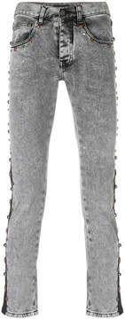 Frankie Morello studded stripe skinny jeans