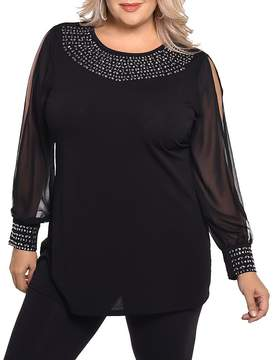 Belldini Embellished Slit Sleeve Top - 100% Exclusive