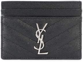 Saint Laurent quilted logo cardholder - BLACK - STYLE