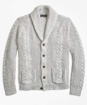 Brooks Brothers Cable Knit Shawl Collar Cardigan