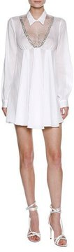 Francesco Scognamiglio Lace Inset Babydoll Minidress with Beaded Trim, White