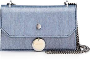 Jimmy Choo FINLEY Dusk Blue Metallic Denim Cross Body Mini Bag