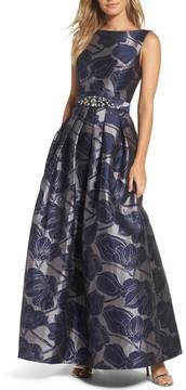 Eliza J Women's Embellished Belt Metallic Jacquard Ballgown