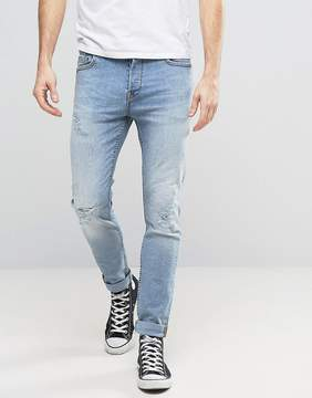 ONLY & SONS Slim Fit Stretch Jeans with Abrasion in Light Blue Wash