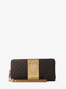 Michael Kors Jet Set Travel Logo And Embossed-Leather Continental Wristlet - BROWN - STYLE