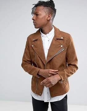 Pull&Bear Faux Suede Biker Jacket In Tan