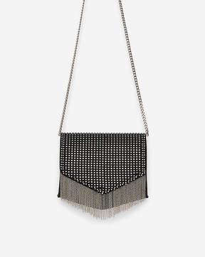 Express Embellished Flap Fringe Crossbody Bag