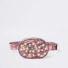 River Island Pink snake print embellished belt bum bag