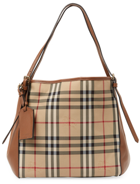 Burberry Small Canterbury Horseferry Check Leather Tote - HONEY - STYLE