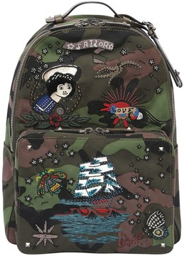Valentino Tattoo Embroidery Camouflage Backpack