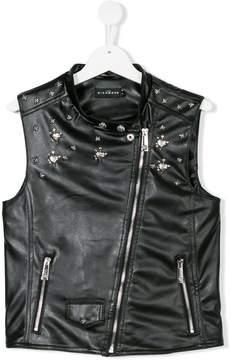 John Richmond Kids TEEN faux leather embellished waistcoat