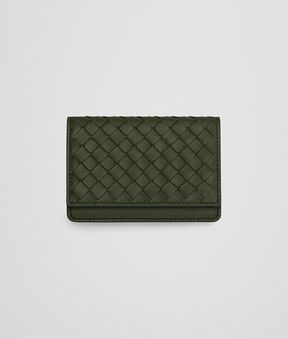 Bottega Veneta Card Case In Artichoke Intrecciato Nappa Leather