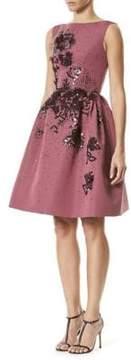 Carolina Herrera Silk Sequin Feathered Dress