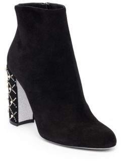 Rene Caovilla Studded Heel Leather Booties